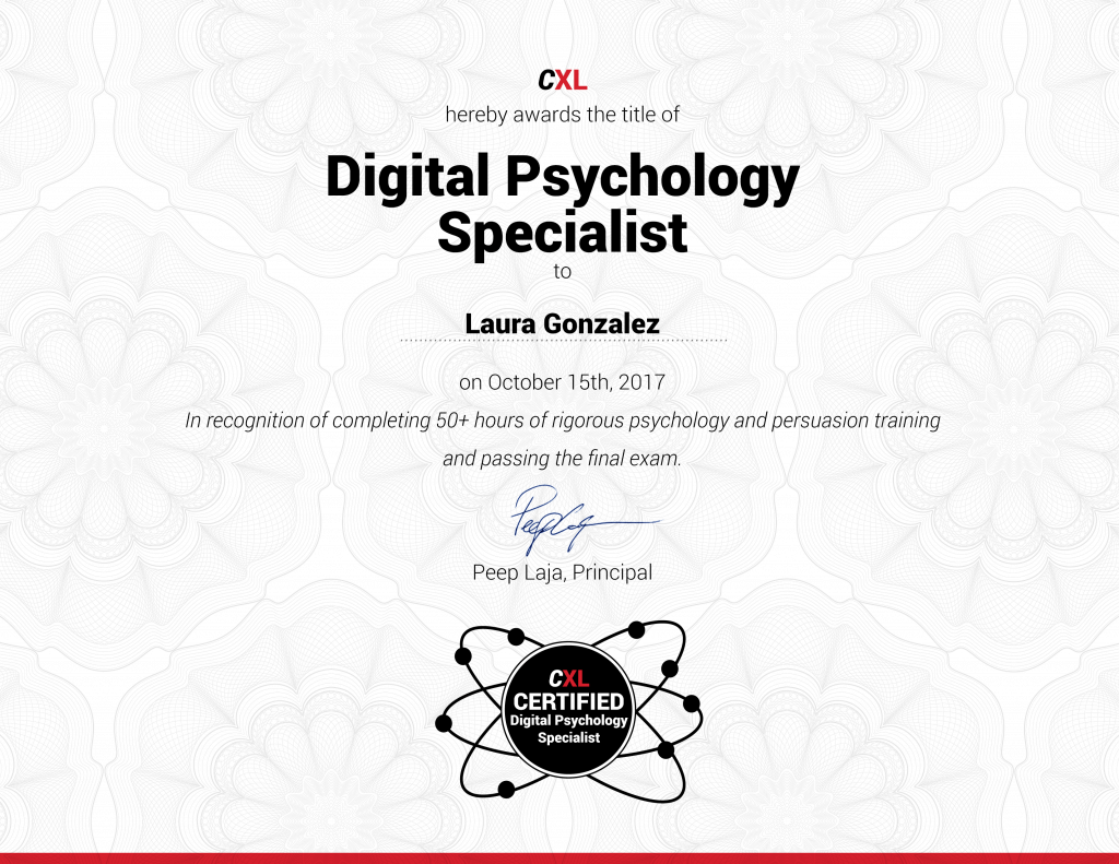 Digital psychology and persuasion training program cxl institute complete all the courses pass the final test and become certified 1betcityfo Choice Image
