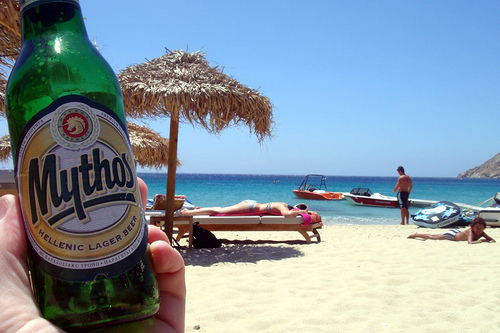 Beer on the beach.