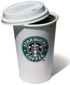 A cup of Starbucks coffee.