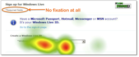 example from eye tracking study in which people ignored the required fields note in a form.