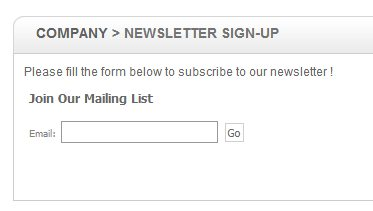 A newsletter signup form.