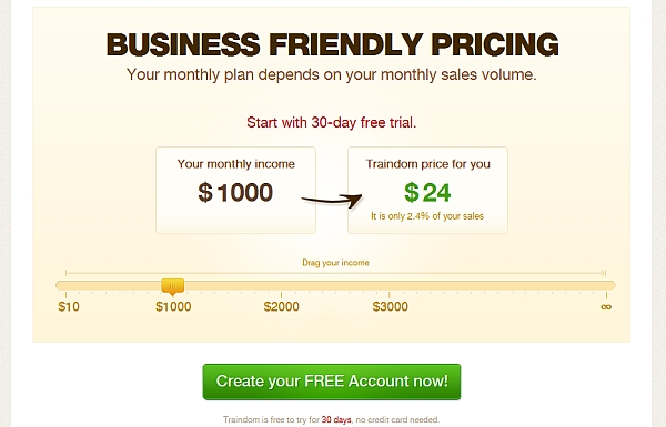slider to scale pricing on page.