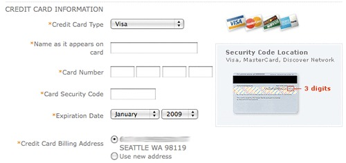 example of credit card entry that explains CVV.