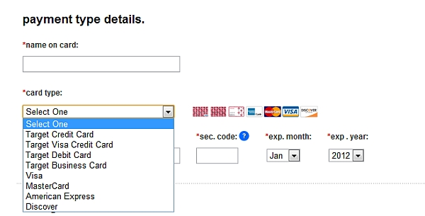 example of confusing credit card selection process.