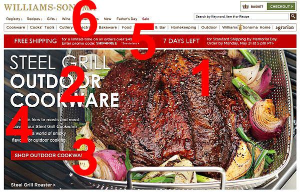 William Sonoma homepage.