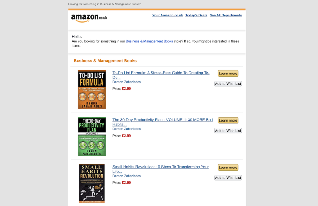 Amazon email example of personalized recommendations.