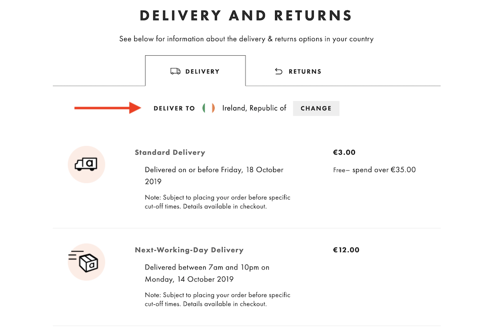 ASOS example of personalized content.