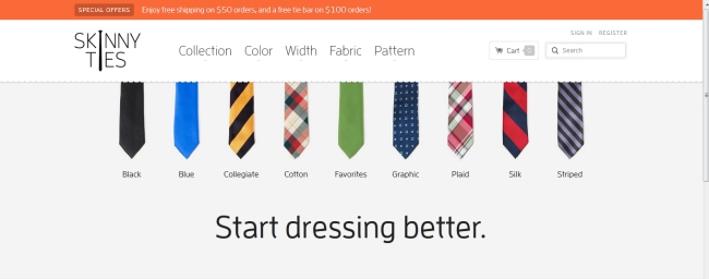Skinny Ties Homepage Screenshot