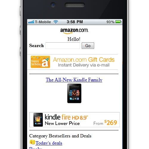 Amazon Dedicated Mobile Website