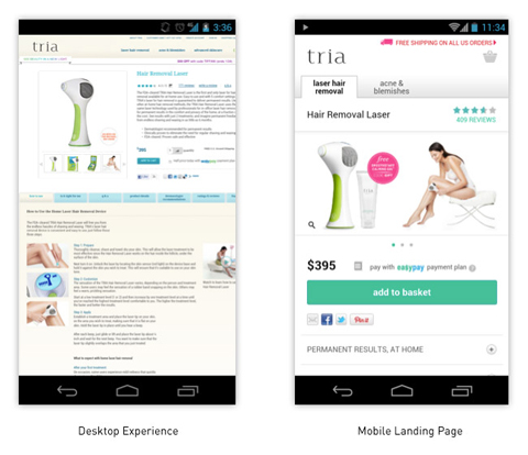 Tria desktop and mobile experience comparison