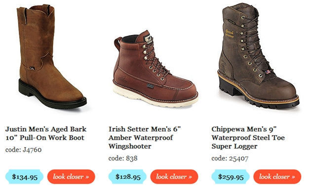 Larger product images for shoes.