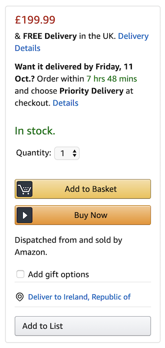 Amazon varies button importance by color and size.