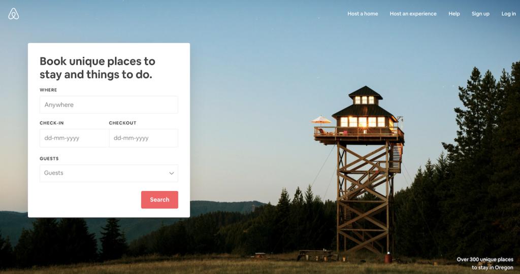Airbnb homepage.