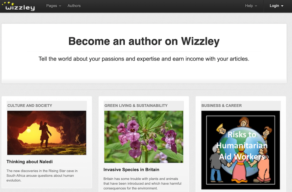 Wizzley call to action.