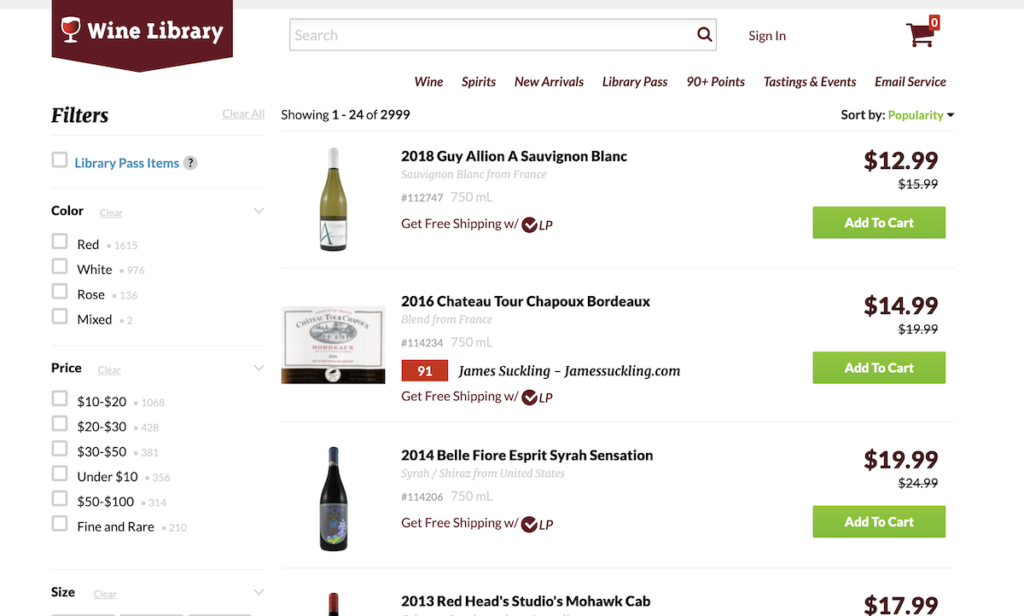 Wine Library product filters.