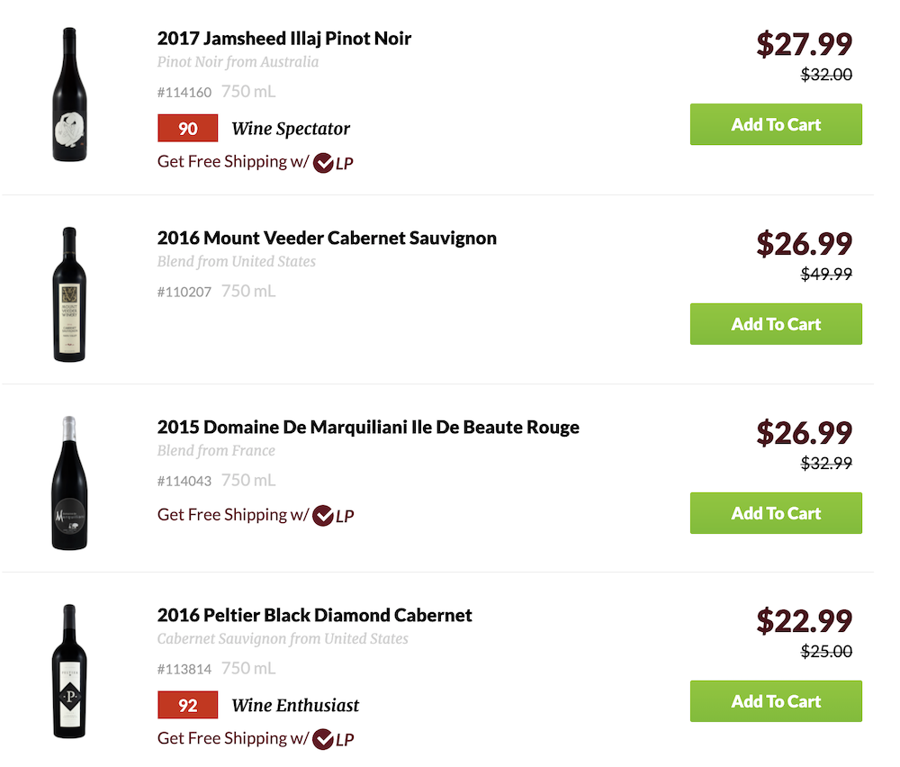 Wine Library product selection page.