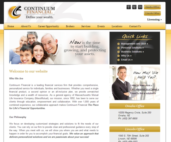 Homepage example with jargon and stock imagery.