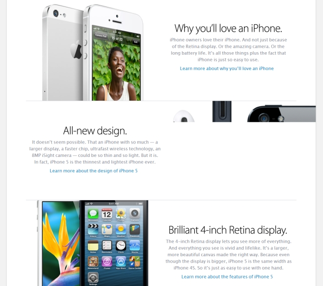 example of alternating text and images on a sales page.