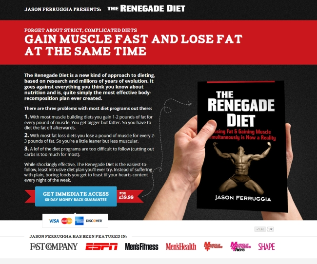 renegade diet long-form sales page example.