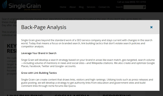 example of using a lightbox to show more information on the same sales page.