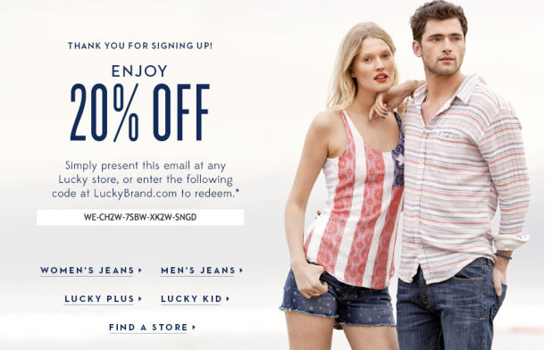 LuckyBrand signup offer.