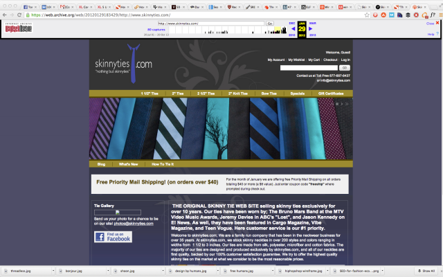 skinny ties site before redesign.