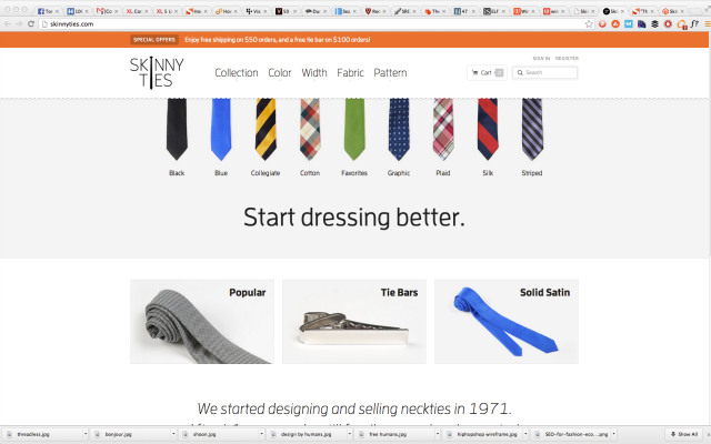 skinny ties site after redesign.