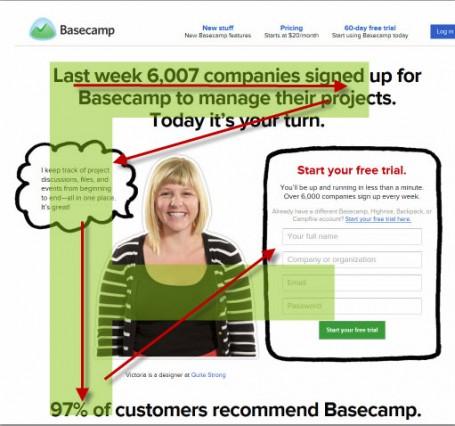 Basecamp landing page screenshot.