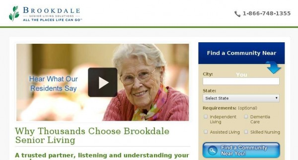 Brookdale video split test screenshot.