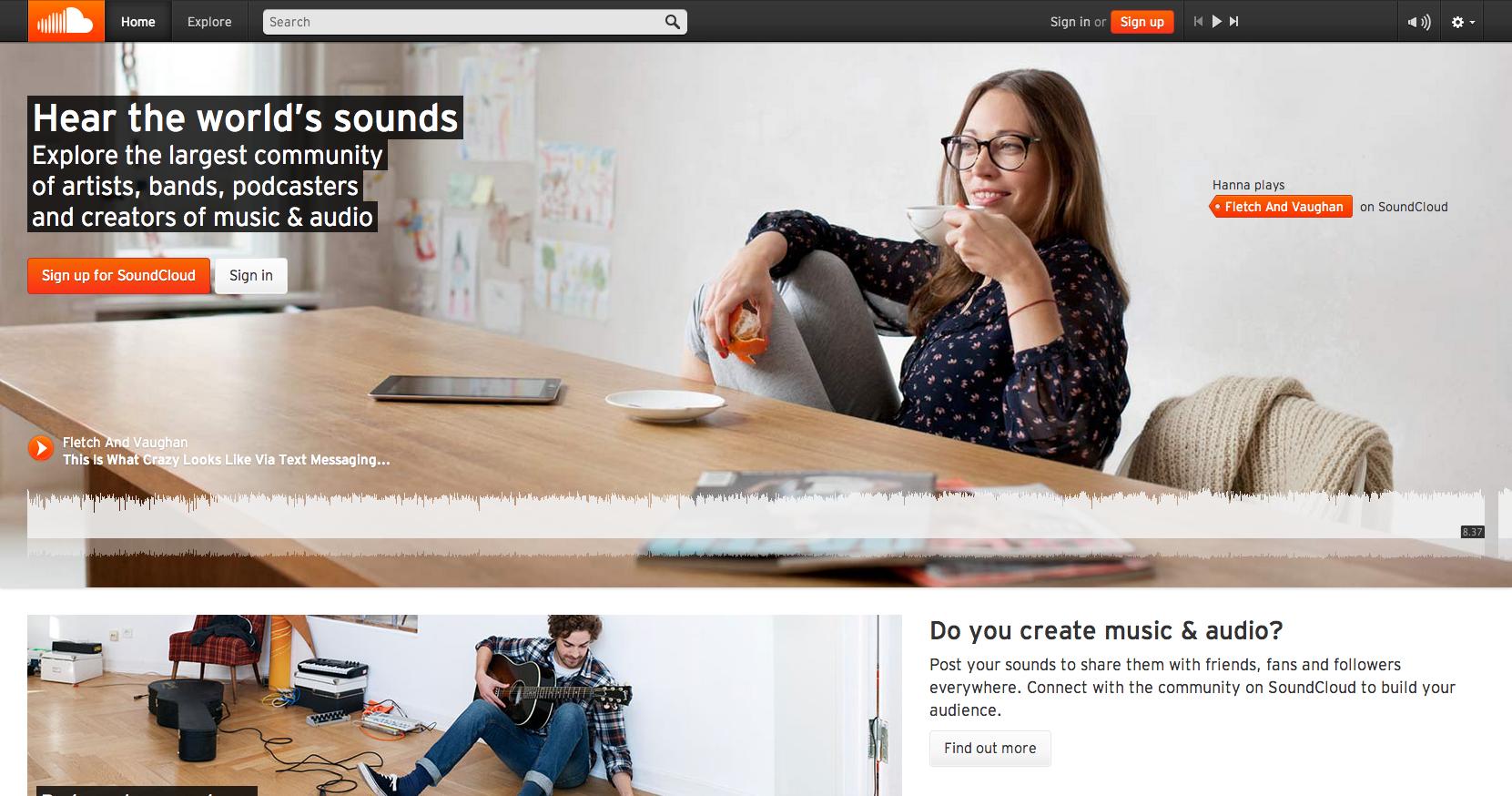 Soundcloud Homepage screenshot.