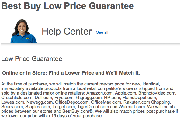 best buy low price guarantee.