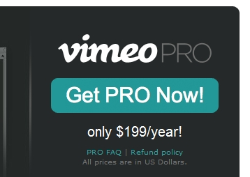 Vimeo pro call to action.