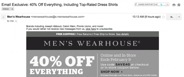 Men's wearhouse email