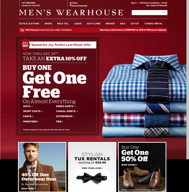 Mens wearhouse homepage
