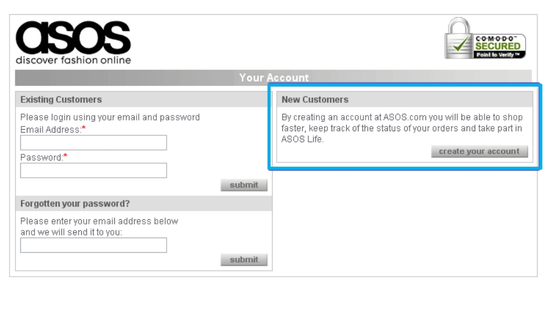 asos former account creation process