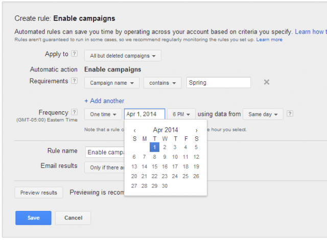 Example of how to set up a Spring Campaign turn-on rule.