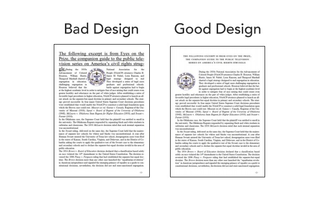 Bad design vs. good design test in a test.