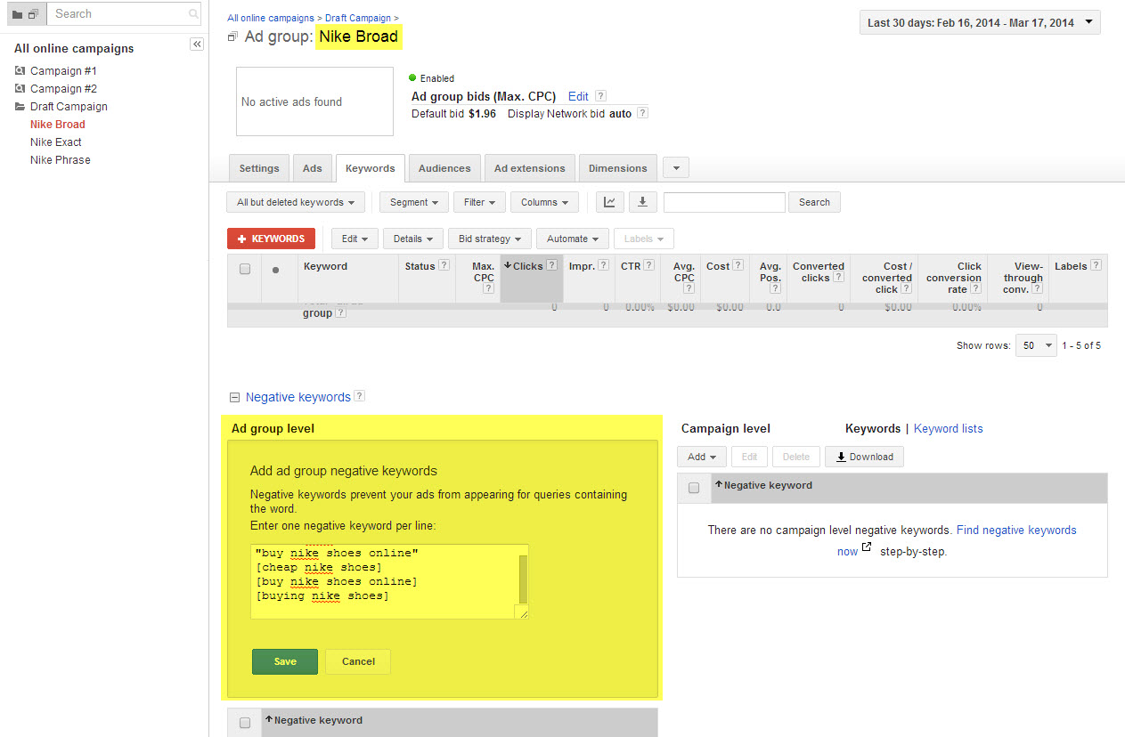 Example of where and how to add Exact and Phrase terms to a Broad Ad Group in AdWords
