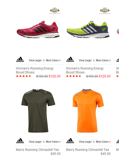 Adidas running shoes and apparel example.