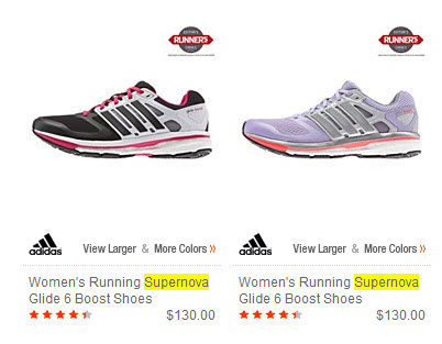 Example of Adidas Supernova shoes.