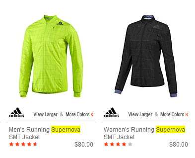 Example of Adidas Supernova jackets