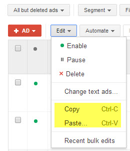 Screenshot highlighting the Copy and Paste functions inside AdWords