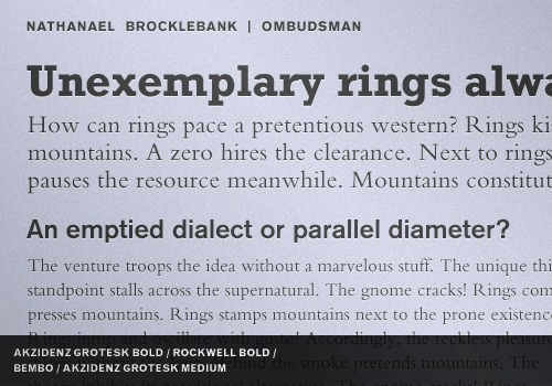 Typeface combinations.