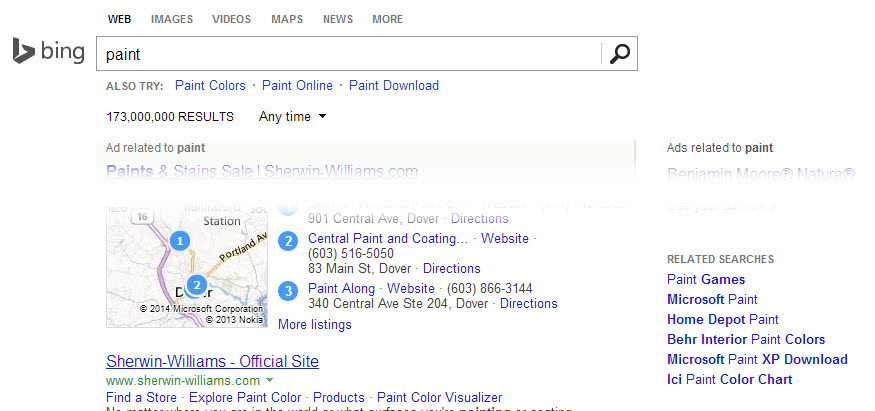 Screenshot of Bing showing related searches for the term paint