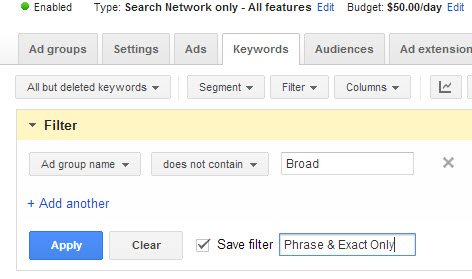 Example of a filter excluding Ad Groups containing the word Broad