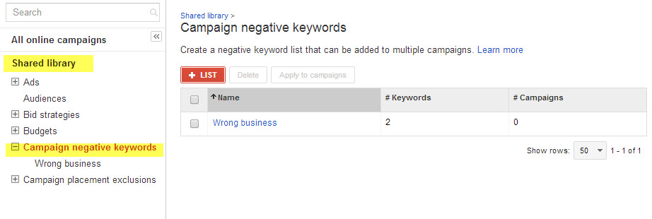 Campaign negative keyword list in the Shared Library section of AdWords