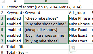 Example of copying keywords from CSV open in Excel