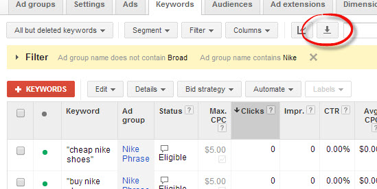 Screenshot of AdWords interface, highlighting the location of the download button