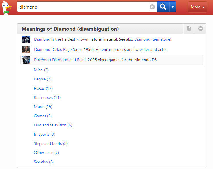Screenshot of the disambiguation results at DuckDuckGo for the word diamond