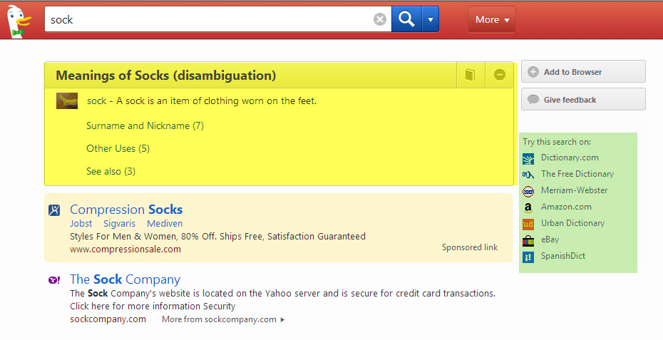 Screenshot of DuckDuckGo results for sock, with disambiguation highlighted in yellow and additional resources highlighted in green
